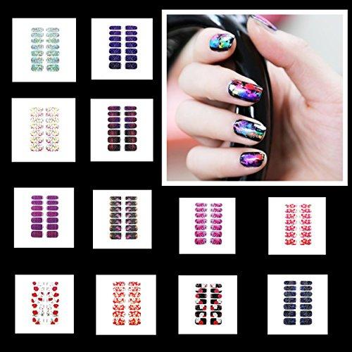 15 Bögen 14x Nagel - Fuß Folie 15 verschiedene Muster Nagelfolie Aufkleber Nail Foil Nail Art Stripes FN-Set