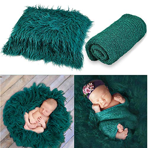 Aniwon 2Pcs Baby Photo Props Long Ripple Wraps DIY Blanket Newborn Wraps Photography Mat for Baby Boys and Girls (Fake Grass Blanket)