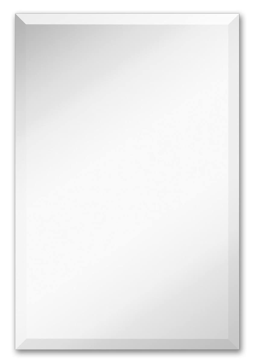 "Large Simple Rectangular Streamlined 1 Inch Beveled Wall Mirror | Premium Silver Backed Rectangle Mirrored Glass Panel Vanity, Bedroom, or Bathroom Hangs Horizontal & Vertical Frameless (20""W x 30""H)"