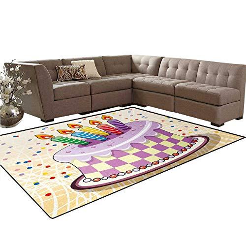 Birthday,Rug,Creamy Cake Illustration with Candles Retro Style Polka Dots Stars Striped Design,Home Decor Floor Carpet,Multicolor,5'x8'