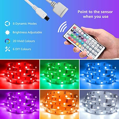 LED Strip Lights 32.8ft, RGB LED Light Strip, 5050 SMD LED Color Changing Tape Light with 44 Key Remote and 12V Power Supply, LED Lights for Bedroom, Home Decoration, TV Backlight, Kitchen, Bar