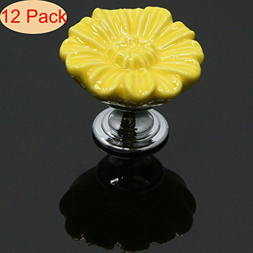 SunKni 12Pcs Flower Floral Knobs Ceramic Drawer Handles Pulls for Wardrobe Cupboard Dresser Cabinet Closet Kitchen Furniture with Free Screws New Sets Pack of 12 (33mm, Yellow) - Yellow Flower Drawer Pull