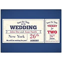 Ticket Movie Show Save The Date Wedding Invitations