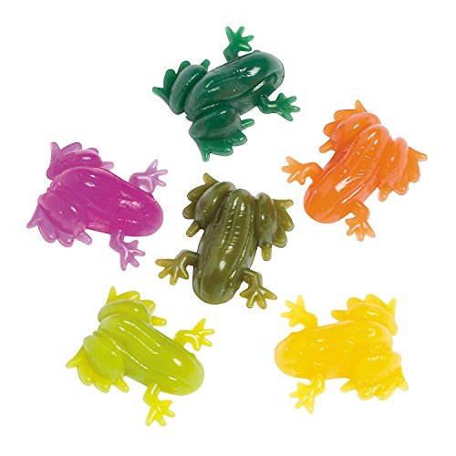 Fun Express Vinyl Realistic Sticky Splat Frogs Party Pack (48 -