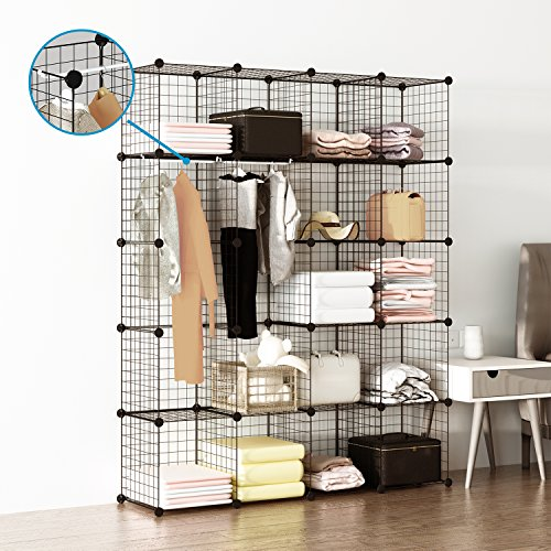 Tespo Wire Cube Storage Shelves Book Shelf Metal Bookcase Shelving Closet Organization System DIY Modular Grid Cabinet (20 Cubes) (Modular Shelving System)