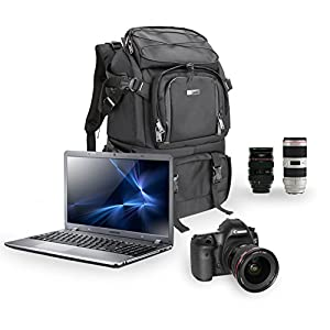 Evecase Extra Large DSLR Camera / 15.6 inch Laptop Travel Daypack Backpack Accessories Lens Gadget Bag with Rain Cover - Black