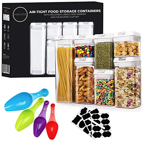 HOMESTO Airtight Food Storage Container Set - Labels & Marker - 4PC Measuring Spoon Set - BPA-Free - Kitchen & Pantry Organization Containers for Flour, Cereal with Improved Lids