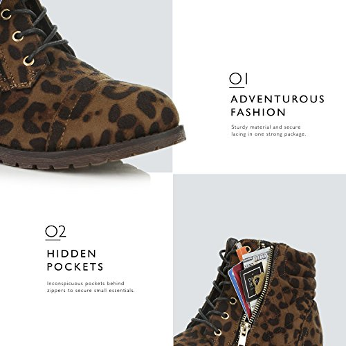 Quilted Buckle Wild Ankle Up Exclusive Bootie Leopard Credit DailyShoes Military Boots Combat High Card Lace Pocket Women's wInvZqH