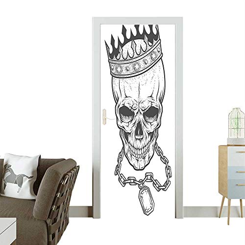 Modern Art Door Sticker Crown Hip Hop Street Necklace Chain Gem Image Print Black and White Environmentally Friendly decorationW35.4 x H78.7 INCH Art Moderne Chain Necklace