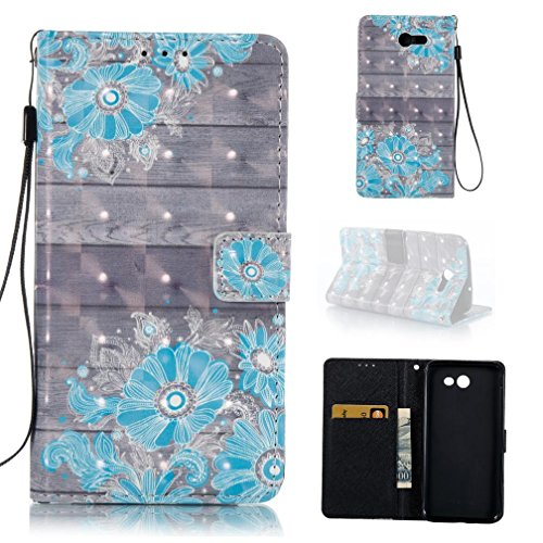 Galaxy J7 V Case, Galaxy J7 Perx Case, Galaxy J7 Sky Pro Case, Galaxy J7 2017 Case, Wallet Magnetic Snap Closure PU Leather Shell Case Pocket for Samsung Galaxy J7 2017-Blue Flower