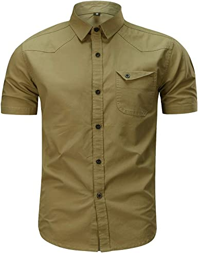 Camisa de Hombre,Internet_Camisa de Manga Corta de Solapa Militar de con Bolsillos de Color sólido para Hombres(Ejercito Verde/Azul Oscuro/Caqui ...