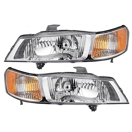 Headlights Headlamps Driver and Passenger Replacements for 99-04 Honda Odyssey Van 33151-S0X-A01 33101-S0X-A01 (Odyssey Honda Headlamp)