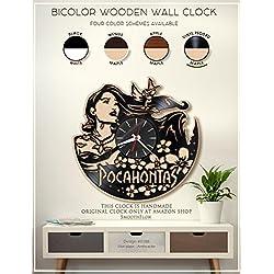 Pocahontas Wooden Clock. Moden Bicolor Clock. Disney Gift. Disney Decor. Handmade Wall Clock. Disney Clock B186(Vinyl Record-Maple)