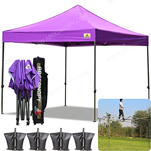 AbcCanopy 10×10 Pop up Tent Instant Canopy Commercial Outdoor Canopy with Wheeled Carry Bag and 4x Weight Bag (purple)