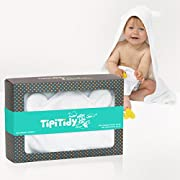TipiTidy Baby Hooded Towel & Washcloth | Organic Bamboo Baby Bath Set | Antibacterial & Odor Resistant | for Boys & Girls | Sized for Newborns & Toddlers | Pure White