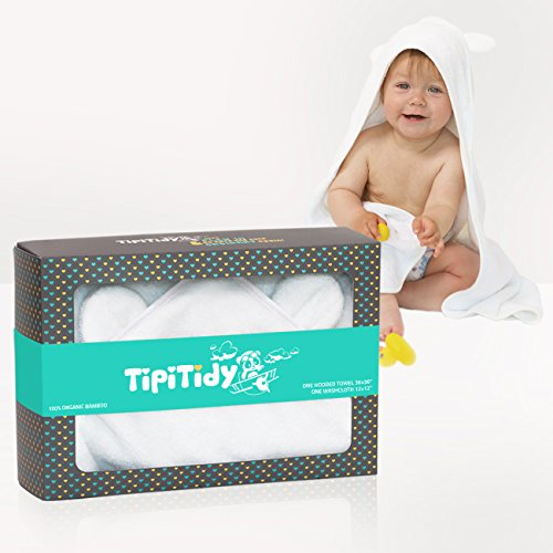 TipiTidy Baby Hooded Towel & Washcloth | Organic Bamboo Baby Bath Set | Antibacterial & Odor Resistant | for Boys & Girls | Sized for Newborns & Toddlers | Pure White (Hooded Hooded Bath Bath Towel Towels)