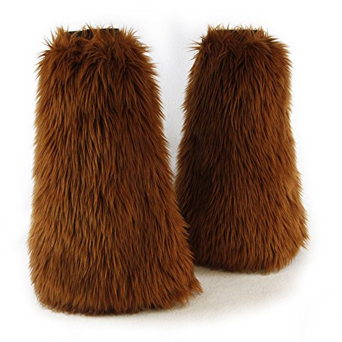 Pawstar Furry Leg Warmers Made in USA Boot Covers Fluffies - Rust -