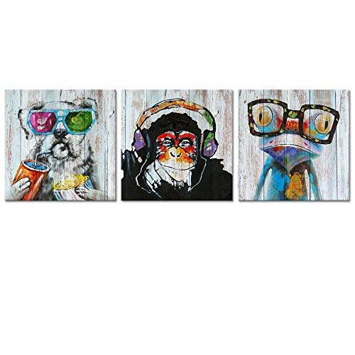 Animals Canvas Wall Art Modern Gorilla Monkey Music Oil Painting Prints on Canvas Happy Dog Frog Canvas Picture Home Decor Animal Prints (01 Happy Animals) (Deco Canvas Print Art)