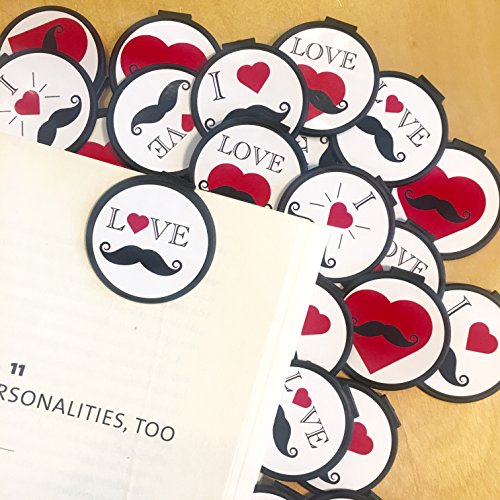 I Love Mustaches Bookmarks - 36 Bulk Bookmarks for Kids girl's boys- School Student Incentives – Library incentives – Reading Incentives - Party Favor Prizes - Classroom Reading Awards! by Reading Rewards