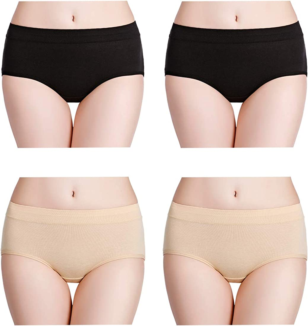 wirarpa Womens Cotton Knickers High Waisted Underwear Ladies Full Back Coverage Briefs Jacquard Panties Multipack