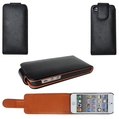 Style Leder Flip Case Apple iPhone 5 Tasche Hülle - Ledertasche schwarz