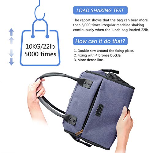 Oxford Lunch Bag Insulated Wide-Open Large Tote USB Charge Port Durable Organizer for Women Men Adult College Work Picnic Hiking Beach Fishing Reusable Cooler Bags Ladies Container (Blue)