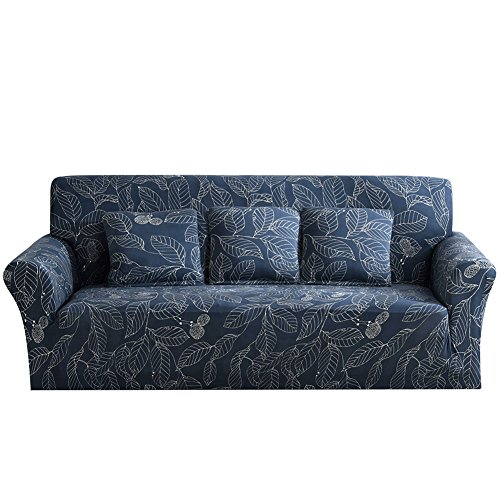 Piece 3 Leaf Sofa (Eleoption Stretch Fabric Sofa Slipcover 1 2 3 4 Piece, Elastic Sectional Sofa Cover Slipcover Protector Couch Pure Color For Moving Furniture Living Room (Blue Leaves, Three seater(70''-90'')))