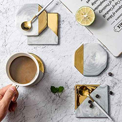 Marble & Gold Rimmed Ceramic Coaster Set of 4 - Handcrafted Coasters with Gold Touch Finish for Coffee Mug, Drinks, Table Countertop, Home Decor, Classy Modern Mat, Cup Pad