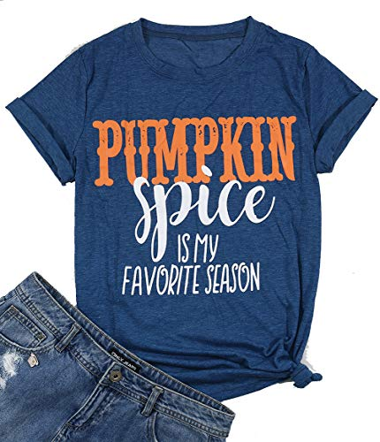 (Pumpkin Spice is My Favorite Season T-Shirt Women Halloween V-Neck Short Sleeve Casual Top Tees Size M)