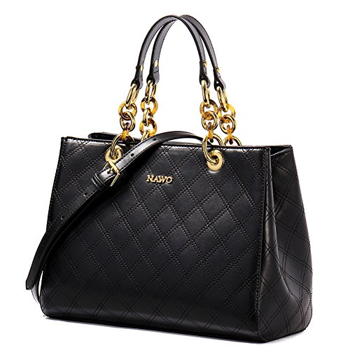 NAWO Women Leather Designer Handbags Tote Purse Top-handle Shoulder Bags Cross-body Bag Black, Large