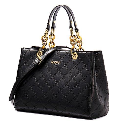 NAWO Women Leather Designer Handbags Tote Purse Top-handle Shoulder Bags Cross-body Bag Black, Large