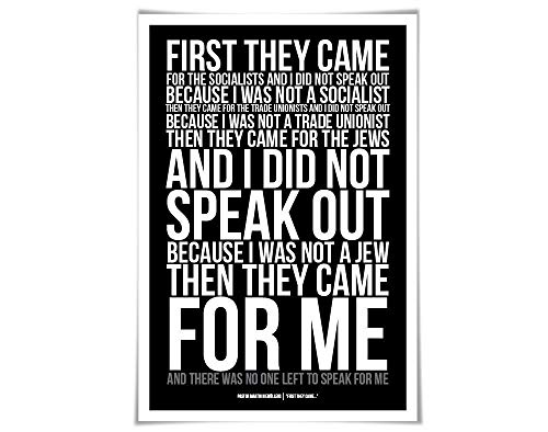 (First They Came, Then They Came For Me Art Print Art Print. 60 Colours/4 Sizes. Martin Niemöller. Holocaust Poem Immigrants)