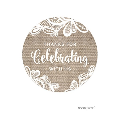 Andaz Press Burlap Lace Wedding Collection, Round Circle Label Stickers, Thank You for Celebrating with US, 40-Pack