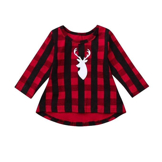 YanHoo Niño pequeño Niños Niños Bebé niña Plaid Navidad Ciervos Princesa Vestido Equipo de Ropa Vestido de Tela Escocesa de Navidad de Cuadros de Manga ...