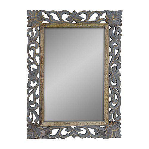 Indian Heritage - Wooden Mirror 18x24 Mango Wood Carved Profile Design Mirror Frame in Grey Distress (Carved Wood Frame Mirror)