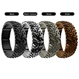 DSZ Silicone Wedding Ring for Men Sports Rubber Band for Heavy Duty - Unique Jeep Tire Tread Design with Groove for Extra Comfort (Black, Black CAMO, Stone, Khaki, 13)