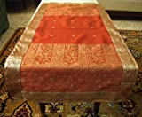 Rust Silk Sari Table Runner Throw