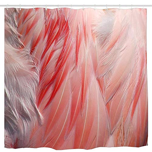 (Wlioohhgs Sleeping Greater Flamingo Coral Pink Wing Feathers Texture Waterproof Shower Curtain Unique Designer Cool Bathroom Curtains Digital Print Curtains Colorful 6072 inch)
