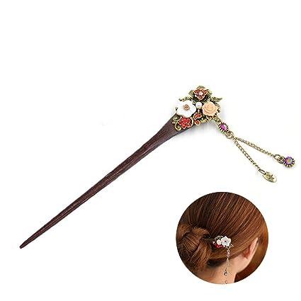 Frcolor Palos de madera Pin chino pelo con borla Retro para mujeres pelo estilo rojo
