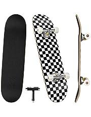 Benewell Skateboard compleet board Funboard 79 x 20 cm met 7-laags esdoornhout, voor kinderen, jongeren en volwassenen met all-in-one skate T-tool voor beginners, en geef een kleine rugzak die het skateboard probleemloos kan dragen