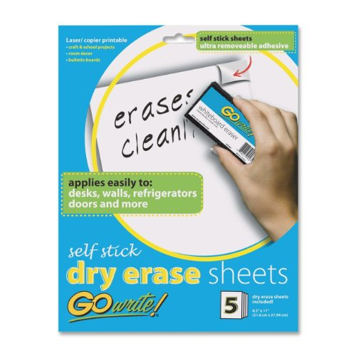 GoWrite! Dry Erase Self-Adhesive Sheets, 8.5-Inches by 11-Inches, 5 Sheets (AS8511)