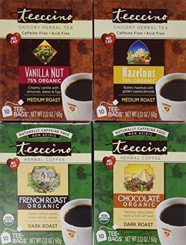 Teeccino Coffee Alternative Variety Pack - 10 Tee-Bags of each - Chocolate, French Roast, Hazelnut and Vanilla Nut