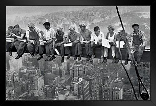 Pyramid America Charles C Ebbets Lunch ATOP A Skyscraper Crossbeam RCA Building Rockefeller Center Framed Poster 20x14 inch