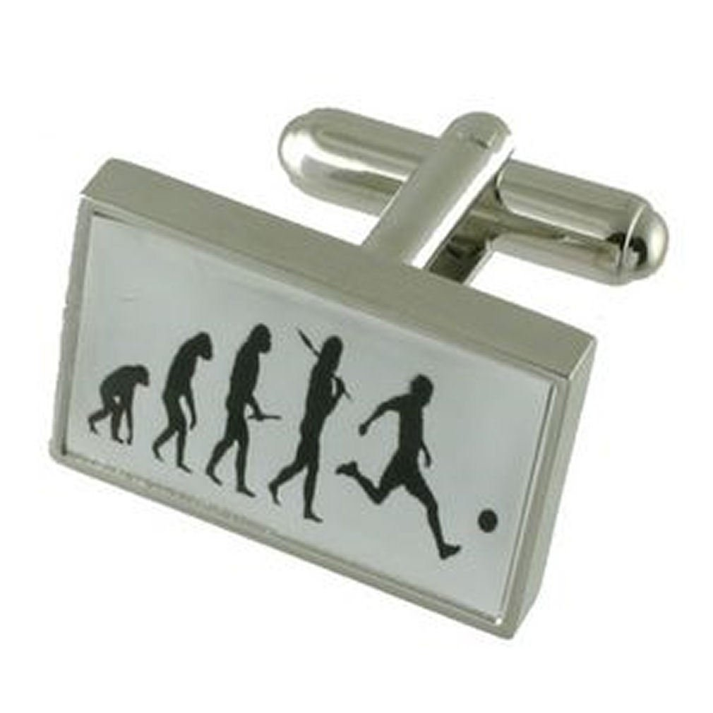 Select Gifts Cuff Links Football Cufflinks~Soccer Evolution Engraved Personalised Box