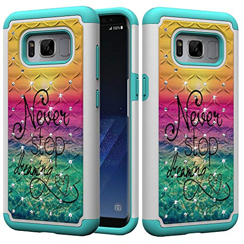 (Galaxy S8 Case, UZER Dual Layer Shockproof Luxury Glitter Sparkle 3D Diamond Studded Bling Rhinestone Painted Series Hard PC+ Soft Silicone Hybrid Impact Defender Case for Samsung Galaxy S8 2017)