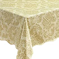 Eforcurtain Shabby Chic Flannel Back Table Cover Oblong PVC Tablecloth Waterproof, Wheat/Greenish, X-Long 60x104-inch