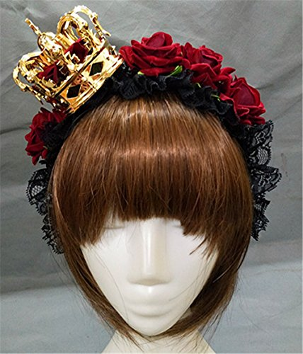 Ladies Lace Rose Crown Headband With Veil Day of Dead Halloween Fancy Dress Costume Crown Hair Accessories (Gold -