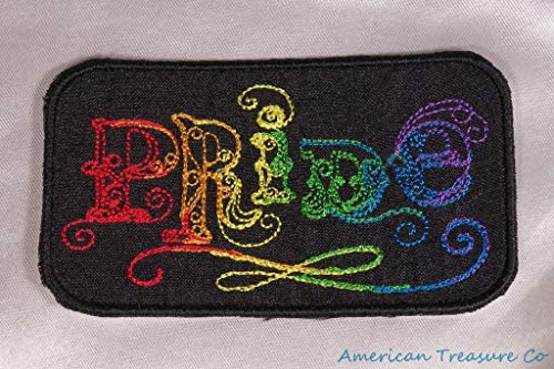 Embroidered LGBT Gay Lesbian Pride Rainbow Candle Swirl Black Patch Iron On Sew