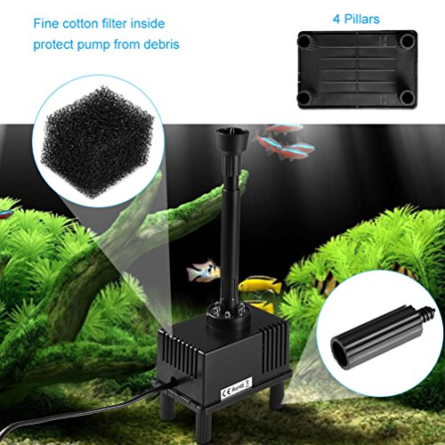 LEDGLE 5W Fountain Bomba de Agua, Bombas de Acuario sumergibles Bomba de Agua compacta con Cable de Alimentaciš®n DE 74.8 , Potente Ventosa, 600L/H, ...