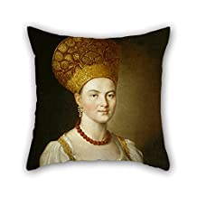 Oil Painting Ivan Argunov - ????????? ???????????? ?? ???????? ???????? Throw Pillow Covers 16 X 16 Inches / 40 By 40 Cm For Valentine Son Relatives Dance Room Home Theater With Two Sides